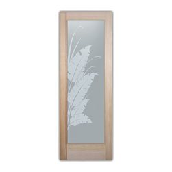 "Bathroom Doors - Glass Bathroom Door Frosted Obscure  Banana Leaves & Reeds - CUSTOMIZE GLASS BATHROOM DOORS!  Quality frosted glass bathroom door designs YOU Customize to suit YOUR decor!  Obscure glass bathroom doors create obscurity thru art!  Ship for just $99 to most states, $159 to some East coast regions, custom packed and fully insured with a 1-4 day transit time.  Available any size, as bathroom door glass insert only or pre-installed in a door frame, with 8 wood types available.  ETA for obscure decorative glass bathroom doors will vary from 3-8 weeks depending on glass & door type.........Block the view, but brighten the look with a beautiful interior glass door featuring a custom frosted glass design by Sans Soucie!   Select from dozens of sandblast etched obscure glass designs!  Sans Soucie creates their bathroom glass door designs thru sandblasting the glass in different ways which create not only different effects, but different levels in price.  Choose from the highest quality and largest selection of frosted decorative glass interior doors available anywhere!   The ""same design, done different"" - with no limit to design, there's something for every decor, regardless of style.  Inside our fun, easy to use online Glass and Door Designer at sanssoucie.com, you'll get instant pricing on everything as YOU customize your door and the glass, just the way YOU want it, to compliment and coordinate with your decor.  When you're all finished designing, you can place your order right there online!  Glass and doors ship worldwide, custom packed in-house, fully insured via UPS Freight.   Glass is sandblast frosted or etched and bathroom door designs are available in 3 effects:   Solid frost, 2D surface etched or 3D carved. Visit our site to learn more!"
