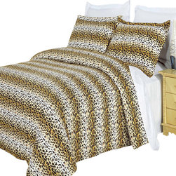 Bed Linens - Cheetah 100% Egyptian cotton Duvet cover Set Full-Queen - Colors include Black stripes, shades of orange ranging from almost yellow to burnt orange and cream.