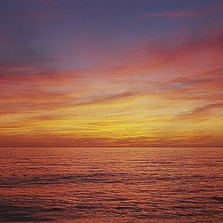 Magic Murals - Panoramic Sunset Ocean Wallpaper Wall Mural - Self-Adhesive - Multiple Sizes - M - Panoramic Sunset Ocean Wall Mural
