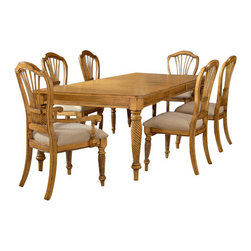 Hillsdale Furniture - Hillsdale Wilshire 5-Piece Rectangle Dining Room Set with Side Chairs - The Wilshire collection features a blend of cottage styling with country accented details. The blend of Americana and English country gives the Wilshire collection a look and feel that will enhance any home. The craftsmanship is evident in each piece. Opening a drawer is a reflection of old world craftsmanship, complete with tongue and groove drawer bottoms, English dovetail drawer construction and thick solid wood drawers. Finishes have been painstakingly applied to give years of enjoyment.