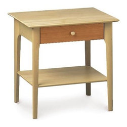 Copeland Furniture - Sarah 24-Inch One-Drawer Nightstand | Copeland Furniture - Made in Vermont by Copeland Furniture.The Sarah Bedroom Collection by Copeland Furniture exhibits the clean lines and balanced proportions of its Shaker influence. The Sarah 24-Inch One Drawer Nightstand features one shelf and a single drawer that adds ample bedside storage and helps keep surface areas clear of clutter. The solid wood nightstand is crafted in your choice of maple, cherry, or in a two-tone natural cherry and natural maple combination. Select your choice of wood finish and one of two satin surface finishes: standard Copeland Lacquer top coat or formaldehyde free Copeland Water Based top coat. Product Features:  Finished with a silky, smooth to the touch top coat Crafted from sustainably harvested hardwoods from the American Northern Forest All lumber comes from within 500 miles of Copeland Furniture's factory in Vermont