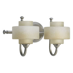 Progress Lighting - Progress Lighting P2886-134WB Ashbury Two Light Bath Fixture in Silver Ridge - 2-light bath fixture featuring traditional style with a modern twist. Unique double drum glass shades with linen finish glass.