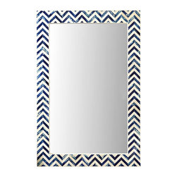 Indigo Chevron Wall Mirror - Patterned with variegated sea-blue and sapphire chevrons, this sophisticated and delicately graphic rectangular wall mirror offers high contrast and a sleek incorporation of classic cobalt accent colors. The Indigo Chevron Wall Mirror is made from precisely-cut, mosaic-fitted tiles of bone, their pattern continuous around a usefully large reflective pane.