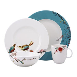 Lenox - Lenox Chirp 4 Piece Place Setting - 791869 - Shop for Sets from Hayneedle.com! The Lenox Chirp 4 Piece Place Setting has a quirky modern elegance. It has a bold flash of color splashing against the white of the fine bone china and the plates have a unique rounded square shape. Each piece has a motif of birds and blossoms and the largest plate features a bright aqua trim. This versatile set is microwave- oven- freezer- and dishwasher-safe. Set Includes: Dinner plate Luncheon/salad plate Bowl Tea/coffee cupAbout Lenox CorporationLenox Corporation is an industry leader in premium tabletops giftware and collectibles. The company markets its products under the Lenox Dansk and Gorham brands propelled by a shared commitment to quality and design that makes the brands among the best known and respected in the industry. Collectively the three brands share 340 years of tabletop and giftware expertise.