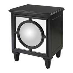 Sterling Industries - Mirage Gloss Black Cabinet with Convex Mirror - Hollywood regency inspired contemporary cabinet by Sterling, the mirage gloss black cabinet with convex mirror will add sparkling drama to your space. The front door panel features a round convex mirror providing a glamorous accent cabinet for modern living. Cabinet has one shelf and is finished in black matte. It's 21 inches wide and 17 inches deep and 21 inches high.