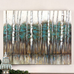 Edge of the Forest Hand Painted Canvas - With striking tones of teal, greens and grays the Edge of the Forest painting gives an almost calming feel to any space. Feel the remoteness that the forest provides from the intrusions of every day life as you gaze upon the edge of the tree line into what seems like an infinite sight line of trunks and branches. An excellent way to bring an appreciation for nature indoors and to easily change the mood of a space.