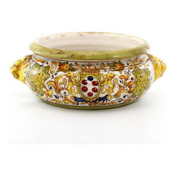 Artistica - Hand Made in Italy - MAJOLICA CAFFAGIOLO: Round Cachepot Bowl Leoni - CAFFAGIOLO Collection: The Caffagiolo pattern depicted in this item is a true Italian classic and certainly the most popular pattern from the Italian town of Deruta.
