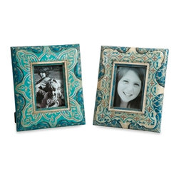 Turquoise Hand Painted Frames - Set of 2 Haani - *This set of hand painted frames feature beautiful jewel toned patterns and are a globally inspired eclectic terracotta accent to any cherished photo.