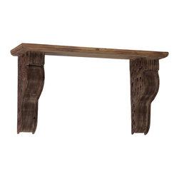 Wood Shelf w/ Engraved Corbel - Natural Wood Finish - *Wood Shelf with Engraved Corbel Natural Wood Finish
