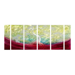 Pure Art - Fantasy Tree Metal Wall Art Set of 6 - Bands of color in burgundy spreading across each panel of this group form the foundation for the splendid silver tree. This six panel metal wall hanging group is a stylish and modern display fitting for any area in your home or office. Showcase your love of fine art work by choosing to accent your decor with this great grouping. Panels in this grouping have been hand painted and crafted by artisans using top quality materialsMade with top grade aluminum material and handcrafted with the use of special colors, it is a very appealing piece that sticks out with its genuine glow. Easy to hang and clean.