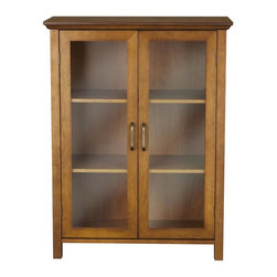 Elegant Home Fashions - Avery Floor Cabinet with 2 Doors - Wood veneer with Oil Oak finish - The Avery Double Door Floor Cabinet from Elegant Home Fashions features an oil oak finish that offers storage with style for the bathroom. Its elegant crown molded top and adjustable shelves helps make it easy to store items of different sizes. The tempered glass-paneled doors provides a clear view into the cabinet.  The cabinet features metal knobs for easy opening. This sturdy cabinet comes with assembly hardware.