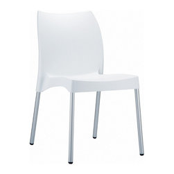 Compamia - Vita Resin Outdoor Dining Chair White - Set of 2 - Vita resin indoor outdoor dining chair. Made from commercial grade resin with aluminum legs. Great for outdoor spaces, patios and decks. Used by restaurants, cafes and hotels. Legs are anodized aluminum. Color white.