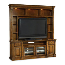 """Hooker Furniture - Tynecastle Two Piece Entertainment Group - White glove, in-home delivery included!  Furniture assembly included!  Named for the Tynecastle area of Northern England, the Tynecastle collection is inspired by the manor homes and equestrian life of the English countryside.  Tynecastle combines classic Georgian architechural details with more rustic timber-frame elements and leather accents, creating a """"manor home to tack room"""" Hunt Country flavor.  Consists of Entertainment Console and Entertainment Console Hutch.  Entertainment Console - Two drawers, one center channel speaker area, two wood doors with one adjustable shelf behind each, two wood-framed beveled glass doors with two adjustable shelves behind, one three-plug outlet.  Will accommodate up to a 70"""" television when used alone.  Entertainment Console Hutch - Three open areas, four adjustable shelves, left and right storage boxes are removable, three lights controlled by a three-intensity touch switch, mountable back panel.  Center channel speaker area: 43 3/8"""" w x 18 3/4"""" d x 6 7/8"""" h  TV space with storage boxes: 57"""" w x 11 3/4"""" d x 42"""" h  TV space without storage boxes: 75 1/2"""" w x 11 3/4"""" d x 42"""" h  Shelf height above console: 42 1/4"""" h"""