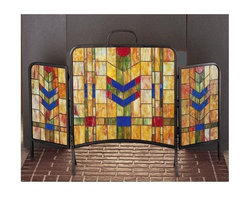 Meyda Tiffany - Prairie Wheat Folding Fireplace Screen - Stickley theme. Constructed from 214 pieces of glass. Orange and light blue flame. 48 in. W x 31 in. H (40 lbs.). Assembly Instructions