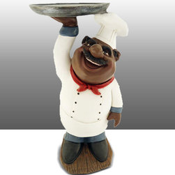 Black Chef Kitchen Statue Holding Plate Table Art Decor - Beautiful Kitchen Counter Table Top Art Decoration fo Bistro Cook or Restaurant.