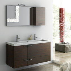ACF - 47 Inch Bathroom Vanity Set - Set Includes: . Vanity Cabinet (2 doors, 2 drawers). Fitted ceramic sink (47.2 inch x 18 inch ). Mirror (W 33.5 inch x H 21.8 inch ). Vanity light. Short Storage Cabinet (W 13.8 inch x H 21.8 inch x D 8.2 inch ). Vanity Set Features:. Vanity cabinet made of engineered wood. Cabinet features waterproof panels. Available in Wenge, Grey Oak Senlis, Larch Canapa, Glossy White. Cabinet features 2 doors and 2 soft-closing drawers. Faucet not included. Perfect for modern bathrooms. Made and designed in Italy. Includes manufacturer 5 year warranty.