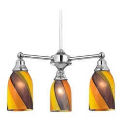 Design Classics Lighting - Mini-Chandelier with Art Glass in Chrome Finish - 598-26 GL1015D - Transitional chrome 3-light chandelier. Takes (3) 100-watt incandescent A19 bulb(s). Bulb(s) sold separately. UL listed. Dry location rated.