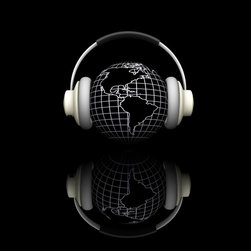Wallmonkeys Wall Decals - 3D Render of a Globe with Headphones on Black Background Wall Mural - 36 Inches - Easy to apply - simply peel and stick!