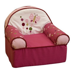 "Lambs & Ivy - Raspberry Swirl Kid's Recliner - Perfectly sized for a toddler to curl up in after a hard day of play, this soft slipcover chair features a fun butterfly applique and rich raspberry colors. Features: -Chair is just the right size for a child.-A butterfly applique floats across the back of the seat.-Slip cover is removable and machine washable.-Shades of pink with green and white accents.-Raspberry Swirl collection.-Collection: Raspberry Swirl.-Distressed: No.-Country of Manufacture: China.-Product Type: Chair.-Powder Coated Finish: No.-Gloss Finish: No.-Solid Wood Construction: No.-Number of Items Included: 1.-Non-Toxic: Yes.-UV Resistant: No.-Fire Resistant: No.-Scratch Resistant: No.-Stain Resistant : No.-Rust Resistant: No.-Mildew Resistant: No.-Rot Resistant: No.-Insect Resistant: No.-Arms Included: Yes.-Upholstered Seat: Yes -Seat Upholstery Material: Microfiber.-Seat Upholstery Color: Multi.-Removable Seat Cushions: No.-Seat Cushion Fill Material: Polyurethane foam.-Removable Seat Cushion Cover: No.-Tufted Seat Upholstery: No.-Welt on Seat Cushions: No..-Upholstered Back: Yes -Back Upholstery Material: Microfiber cover.-Back Upholstery Color: White and pink.-Removable Back Cushions: No.-Back Cushion Fill Material: Polyurethane foam fill.-Removable Back Cushion Cover: Yes.-Tufted Back Upholstery: No.-Welt on Back Cushions: No..-Nailhead Trim: No.-Rocker: No.-Swivel: No.-Glider: No.-Reclining: Yes.-Footrest Included: No.-Stackable: No.-Foldable: No.-Inflatable: No.-Legs Included: No.-Storage Area: No.-Cupholder: No.-Skirted: Yes.-Ottoman Included: No.-Adjustable Height: No.-Ergonomic Design: No.-Age Recommendation: 0-36 months.-Outdoor Use: No.-Seating Capacity: 1.-Weight Capacity: 43 lbs.-Swatch Available: No.-Commercial Use: No.-Recycled Content: No.-Eco-Friendly: No.-Product Care: Slip cover: machine wash cold with like colors, gentle cycle, do not bleach, tumble dry low, iron on low setting as needed.-Convertible: No.Specifications: -FSC Certified: No.-CPSIA or CPSC Compliant: No.-CARB Compliant: No.-Green Guard Certified: No.Dimensions: -Overall Height - Top to Bottom: 18"".-Overall Width - Side to Side: 18"".-Overall Depth - Front to Back: 16"".-Seat Height: 6"".-Seat Width - Side to Side: 10.25"".-Seat Depth - Front to Back: 12.25"".-Arms: -Arm Height: 11"".-Arm Width: 5""..-Overall Product Weight: 10 lbs.Assembly: -Assembly Required: No.-Additional Parts Required: No."