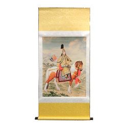 Golden Lotus - Chinese Emperor Riding Scenery Scroll Painting - This is a print copy oriental scroll painting with Emperor Riding Horse  scenery.