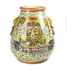 Artistica - Hand Made in Italy - RINASCIMENTO: Conic Orcio Urn with side ring and lion heads. - RINASCIMENTO Majolica: Combining unique Tuscan vessels with traditional renaissance hand painted scrollwork's in trendy colors.
