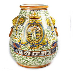 Artistica - Hand Made in Italy - Rinascimento: Conic Orcio Urn with Side Ring and Lion Heads. - Rinascimento Majolica:
