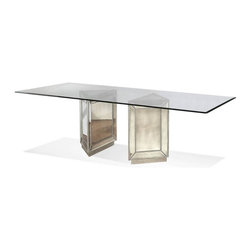 Bassett Mirror - Pedestal Dining Table - 0.5 in. glass thickness. Eurogee and clear top. Table top: 96 in. L x 44 in. W. Base: 20 in. L x 20 in. W x 30 in. H