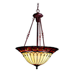 Kichler - Dunsmuir Classic Pendant - Sophisticated pendant is from the Classic collection.  Pendant features a bronze finish complimented by a Tiffany glass shade.  Light comes with 83? of extra lead wire.  Fixture can also use TCP energy efficient compact fluorescent light bulbs. Kichler - 65187