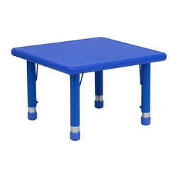 "Flash Furniture - 24"" Square Height Adjustable Blue Plastic Activity Table - Kids activity tables are excellent for early childhood development. The primary colors make learning and play time exciting when several colors are arranged in the classroom. This durable table features a plastic top with steel welding underneath along with adjustable steel legs that is sure to last throughout the years."
