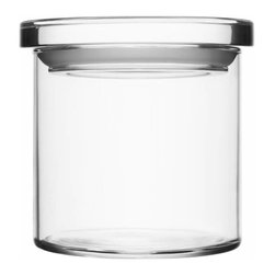 """Iittala - Glass Jars 4.5"""" x 4.25"""" Clear - Looking at your storage situation through rose-tinted glasses? These jars are the solution! Line them up or stack them up on the kitchen counter for a clean display. A pretty vessel for vittles or a clean place for cotton swabs, these multipurpose containers fit anywhere you need smart, stylish storage."""
