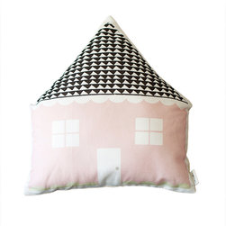 Plumed - Pink House Shaped Cushion - Our House shaped stuffed cushion is a textile fabric designed by Plumed as a part of our Generations line. Our Generations line is designed to appeal to all ages, as well as, to go in any room in your home - from the kids room to the living room. Our printed designed textiles are also designed to mix and match between our lines (photography/modern graphic/generations).
