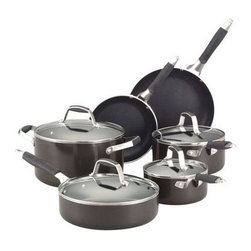 Lifetime Brands - GF Nonstick CookwareSet Graphi - Guy Fieri 10-Piece Nonstick Cookware Set  Graphite. Guy Fieri products incorporate style with unique function built expressly to the specifications of the famous chef and restaurateur. This set features durable aluminum construction for fast and even heat distribution and eliminates hot spots that can cause food to burn. The interior features a long-lasting  nonstick finish for healthy cooking  excellent release of foods and easy clean-up. Riveted stay-cool silicone and stainless steel handles provide a comfortable non-slip grip. The tempered glass lids seal in nutrients and flavors  while allowing you to monitor food as it cooks. Oven safe up to 350 degrees F and safe for gas  electric and ceramic stove tops. Dishwasher safe  but hand washing recommended. 10 piece cookware set includes an 8 inch fry pan  10 inch fry pan  6 quart stock pot with glass lid  1-1/2 quart sauce pan with glass lid  3 quart sauce pan with glass lid and a 3 quart deep sautT pan with glass lid.  This item cannot be shipped to APO/FPO addresses. Please accept our apologies.