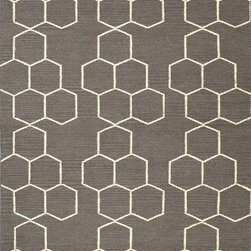 Jaipur Rugs - Flat Weave Geometric Pattern Gray /Black Wool Handmade Rug - MR02, 9x12 - An array of simple flat weave designs in 100% wool - from simple modern geometrics to stripes and Ikats. Colors look modern and fresh and very contemporary.