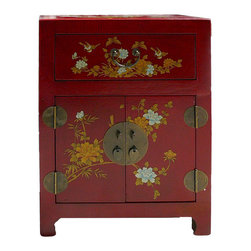 Golden Lotus - Chinese Red Veneer Leather End Table Nightstand - This is a simple end table / nightstand with red  color veneer leather on the surface. Oriental flower graphic is on as an accent.