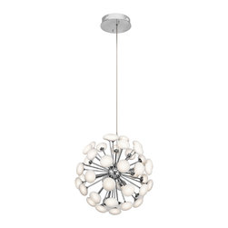 """Mid Century Modern - 49-Light. LED. Satin Nickel with Frosted White glass. 23.5"""" Wide, round. Max height 54"""""""