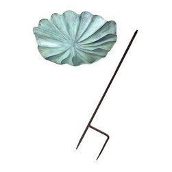 Achla - Large Lily Leaf Bird Bath - Includes Roman bronze stake. 90 days warranty. Made from aluminum. Verdi finish. Made in India. No assembly required. 19 in. W x 18 in. D x 2.5 in. H (6 lbs.)An elegant accent piece for your yard or garden.