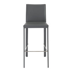 Eurostyle - Hasina-B Bar Stool (Set Of 2)-Gry/Ss - Regenerated leather upholstered seat, back and legs over steel frame