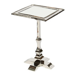Prima Design - Cast Metal Accent Table with Square Post and Inset Mirror in Polished Nickel Fin - This accent table does just that, accents a room with a one-of-a-kind style and d�cor, bringing a contemporary touch to any room.