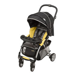Evenflo - Featherlite 400 with Embrace35 Travel System - Features: -Designed and tested for structural integrity at energy levels approximately 2X the federal crash test standard.-Three-Position adjustable base with easy-to-use adjuster ensures proper angle for baby.-Central level indicator can be seen from either side for correct car installation.-Comfort - Multi-position recline for babies comfort.-Shade - Canopy protects baby from wind and sun.-Trays - Child tray with cup and snack holder and Parent drink holder.-Extra - Front locking swivel wheel enhance stability.-Storage - Storage basket holds all of mom's needs.-Collection: FeatherLite.-Distressed: No.Dimensions: -Overall Product Weight: 37.375 lbs.