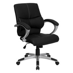 Flash Furniture - Flash Furniture Mid-Back Black Leather Contemporary Manager's Office Chair - This Black Mid-Back Executive Office Chair features soft leather upholstery with baseball glove stitching. With built-in lumbar support, a well-padded seat and back, and padded loop arms this is sure to bring a stylish addition to your office. Chair features a silver nylon base with black caps that prevent feet from slipping.