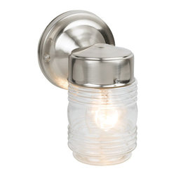 Design House - Design House 507806 Satin Nickel Single Light Down Light Outdoor Wall Sconce fro - Satin Nickel Single Light Down Light Outdoor Wall Sconce from the Jelly Jar CollectionThe Design House 507806 Jelly Jar Outdoor Downlight, part of the Jelly Jar Wall Sconce Collection, features an oil rubbed finish, translucent glass and a nautical design. This light glows like a stern or bow light and meshes traditional aesthetics with an industry leading design. With glare-free illumination and spot-on color rendition, this light is perfect for your porch or backyard. This product is perfect for outdoor lighting and provides steady glare-free illumination. Use this light to deter burglars and thieves and maintain a well-lit porch. A wall mount with a 4.5-inch (D) back plate attaches to the light. This item uses (1) 60-watt bulb (not included) and is UL listed to ensure the highest quality possible. The Design House 507806 Jelly Jar Outdoor Downlight comes with a 10-year limited warranty to the original purchaser to be free from defect in materials and workmanship. With a strong corrosion resistant finish, this product attests to the quality of all Design House products, and integrates traditional curves with the amenities of industry leading features. Design House offers products in multiple home decor categories including lighting, ceiling fans, hardware and plumbing products. With years of hands-on experience, Design House understands every aspect of the home decor industry, and devotes itself to providing quality products across the home decor spectrum. Providing value to their customers, Design House uses industry leading merchandising solutions and innovative programs. Design House is committed to providing high quality products for your home improvement projects.Features:
