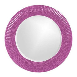 Howard Elliott Bergman Hot Pink Small Round Mirror - This round, resin mirror is painted in a glossy hot pink giving the piece textured, starburst effect.