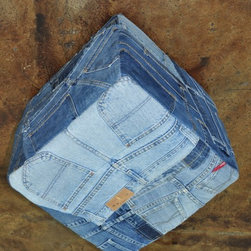 "Loloi Rugs - Loloi Rugs Runway Collection - Denim Shorts, 1'-4"" x 1'-4"" Cube - It's casual, chic and the perfect fit for any stylish room. Made in India, these hand-stitched, supple denim rugs are crafted from vintage blue jeans and vintage denim shirts. Choose from four styles: Denim Shorts, Denim Full, Denim Sleeves and Denim Pockets. Also ask about cool beanbags, poufs, stools and pillows."