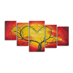Branching out to love Hand Painted 5 piece canvas set - Fill your home with light and love with these original five oils on canvas. This mosaic of paintings will set your home on fire with originality, surely becoming the focal point of your favorite room.
