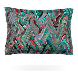 "Kess InHouse - Suzanne Carter ""Abstract Wave"" Teal Abstract Pillow Sham (Cotton, 40"" x 20"") - Pairing your already chic duvet cover with playful pillow shams is the perfect way to tie your bedroom together. There are endless possibilities to feed your artistic palette with these imaginative pillow shams. It will looks so elegant you won't want ruin the masterpiece you have created when you go to bed. Not only are these pillow shams nice to look at they are also made from a high quality cotton blend. They are so soft that they will elevate your sleep up to level that is beyond Cloud 9. We always print our goods with the highest quality printing process in order to maintain the integrity of the art that you are adeptly displaying. This means that you won't have to worry about your art fading or your sham loosing it's freshness."