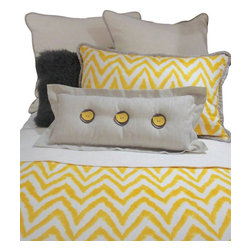 Artistic Sensations - Queen Gray, Yellow, and White Chevron Bedding and Pillow Set - Our gorgeous gray, yellow, and white chevron print bedding collection is made in beautiful fabrics of cottons and linens. This queen set includes a queen coverlet, one standard sham, two euro shams, gray fuzzy pillow, lumbar pillow and dust ruffle. Featuring fabrics with yellows, grays and white chevron accents and beautifully made to order pillows, this bedding set will wow you and your teenager, boy or girl.