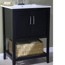 None - Ceramic-top 24-inch Single Sink Bathroom Vanity and Basket - This darling single sink bathroom vanity is the perfect modern touch to your bathroom. Featuring beautiful vertical lines, double-door storage cabinet, metal handles, an open shelf with a straw basket and an elegant white ceramic sink top.