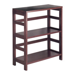 Winsome - 2-Tier Wide Leo Shelf / Storage - Its two sections hold the Espresso Large Storage Basket or two Small Storage Baskets perfectly. Mix and match with the other Espresso Storage Shelves.
