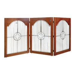 MAJESTIC PET PRODUCTS - Universal Free Standing Pet Gate - While you're housebreaking your pet, or when you want to restrict his access to certain areas of your home, this attractive gate is a great solution. Constructed from solid wood, six- and eight-gauge wire and triple-hinge construction, with double-jointed hinges, this gate can be configured in a C or Z-shaped configuration. No assembly required.