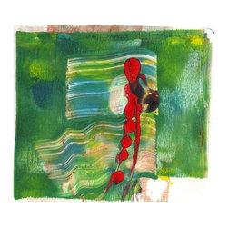 "Amantha Tsaros - Greeny Two Original Artwork - A windy bit of spring blowing across a 6""x6"" field."